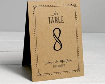 Personalised Wedding Table Numbers, Personalised with Couple's Names and Wedding Date, Double Sided (Pack of 4)