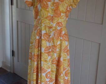 Vintage 1990's Oranges Print Summer Maxi Dress by American Angel .
