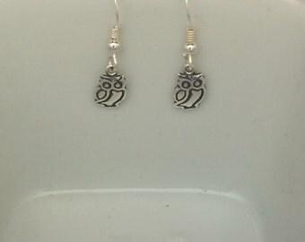 Wise Owl Sterling Silver Drop Earrings