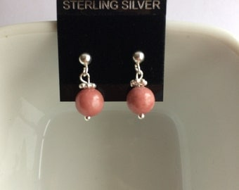 Pretty in Pink Rhodonite and Sterling Sliver Drop Stud Earrings.