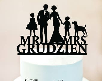 Wedding Family Cake Topper,Family Cake Topper, Bride and Groom with children, Cake Silhouette Couple with children, with Girl and Boy (1096)