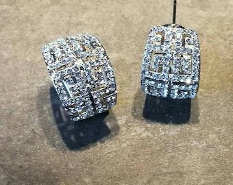 Silver Cubic zirconia hoop stud earrings, CZ earrings, wedding earrings, bridesmaid gift, bridal jewellery, hoop stud earrings,