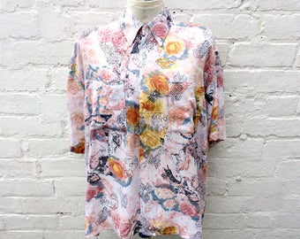 Vintage summer shirt, oversized 90's fashion, colourful pastel top