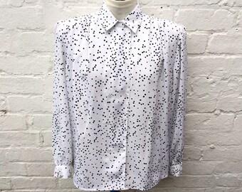White blouse, vintage polka dot shirt, women's 80's office fashion