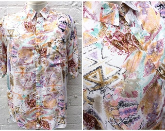 Vintage men's shirt, oversized 90's fashion, colourful top