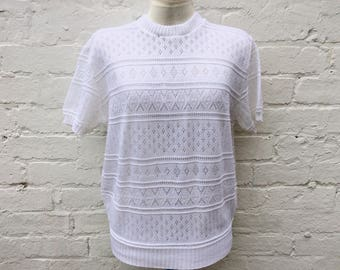 White 50s style knit, vintage retro short sleeved pullover