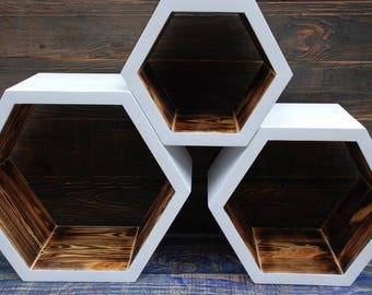 Set of 3 hexagon shelves,wall shelves,geometric shelf,wooden hexagon shelf,Deep wooden hexagonal shelf,white hexagon shelves