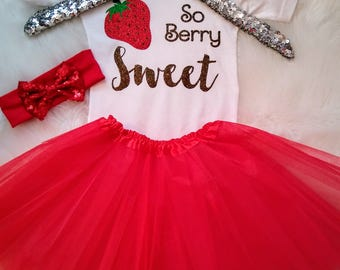 Baby Girl Outfit Baby Girl Clothes Strawberry Outfit So Berry Sweet Summertime