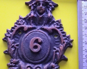 vintage cast aluminum toned copper house number / 6
