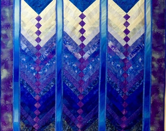 Patchwork, Wall hanging. Art quilt. Contemporary.  Room decor. Snow scene. Vibrant. Blues.
