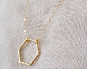 Hexagon necklace, dainty necklace, everyday necklace / / gold plated / / 60% off