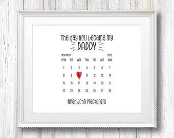 Personalised The Day You Became My Daddy Framed Print, Father's Day Gift, A4/A3, Calendar, Print for Dad, Wall Decor, Dad's Day