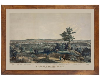 Manchester NH, 1855; 24x36 inch print reproduced from a vintage lithograph