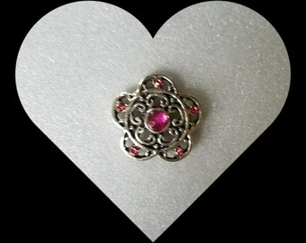 Snap Jewelry, 20mm snap, Pink flower in a filagree style