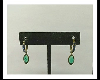 Vintage Green Blue Green Rhinestone Drop Dangle Earrings, Accessories, Fashion Jewelry, Boutique