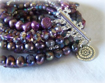 MULTI STRAND BRACELET ... shades of purple