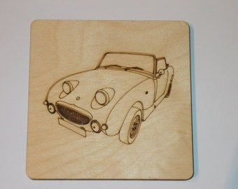 Austin Healy Frogeye Sprite Coaster - Etched wood