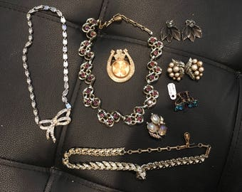 11 pieces of vintage Coro rhinestone and faux pearl jewelry