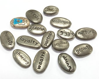 Inspirational Word Pebbles English and Chinese, Pewter Findings