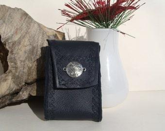 Handmade cigarette pack in dark blue leather