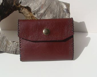Handmade 2-part folding door with leather purse, brown, bordeaux medieval style