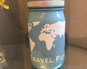 Travel Fund Jar, Vacation Fund, Coin Slot Lid, Large Mason Jar, Vacation Savings Fund, Family Vacation Savings, Trip Savings Fund, Trip Bank