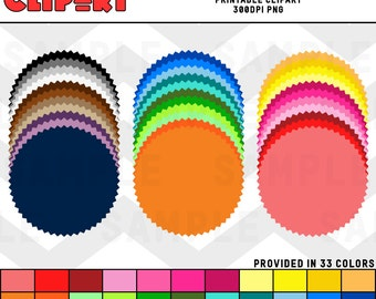 Round Jagged Badge Color Pack