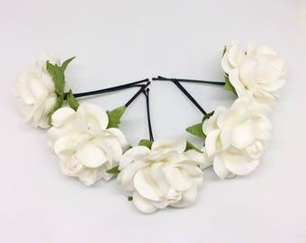 5 Big White Paper flower hair accessories, hair pin, bridal hair accessories, white hair clip, white hair pins, rustic wedding,