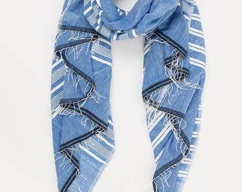 Lightweight  natural cotton scarves for women, handmade or handwoven scarves