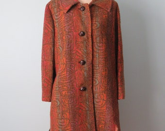 Vintage BETTY ROSE Coat Tapestry Colors in Wool with faux mouton fur
