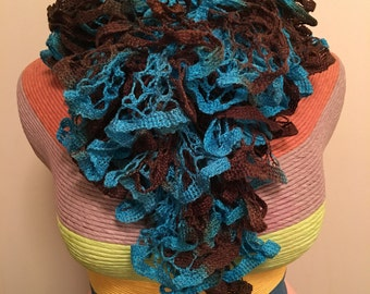 Hand Knitted Teal and Brown Warm, Frilly, Ruffled Scarf - Great for the Winter as a Fashionable Accessory - Gift