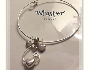 B0079'Whisper Bracelet' Adjustable Bangle Charm Bracelet with Heart Charms.