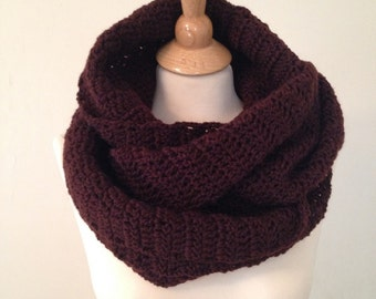 Infinity Scarf, Brown Scarf, Wraparound Scarf, Long Scarf, Crochet Scarf, Winter Scarf