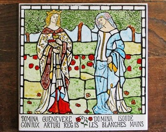 Queen Guinevere and Isolde Hand painted ceramic tile