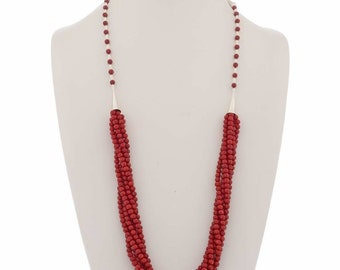 Red Coral Bead Necklace Navajo Six Strand Design