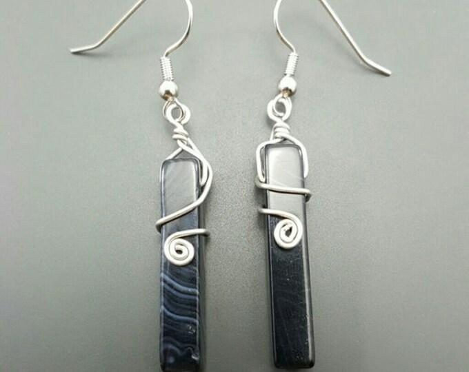 Handmade Black Agate Earings
