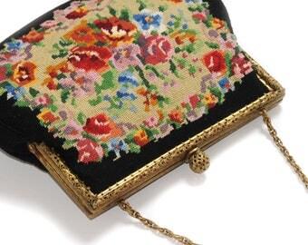 PETIT POINT tapestry embroidery · Vintage Pocket · ornate bracket · floral · bold colors