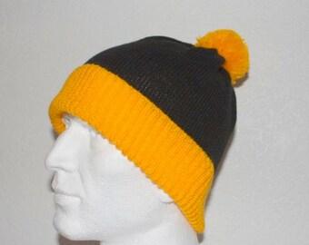Black Yellow Odlaw pompom beanie hat
