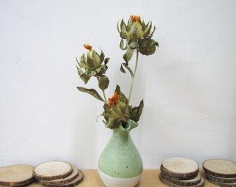 Dried Safflower in Pottery Vase, Christmas Decor, Dried Flowers, Christmas Gift, Rustic Home Decor, Rustic Mantel Decor, Wedding Centerpiece