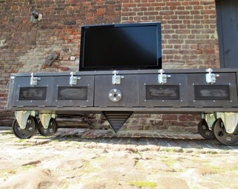 Tv TV stand industrial shelf grid