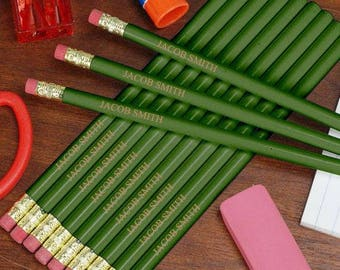 Personalized Engraved Green School Pencils Custom Name Gift
