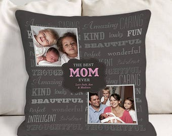 Personalized Best Mom Photo Throw Pillow Custom Name Gift