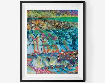 Colorful Graffiti-Like Abstract Printable Wall Art (Retro, Postmodern, Graffiti), Instant Download