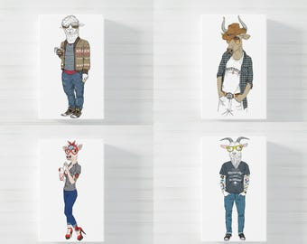 "Fashion ""Farm"" Animals illustration prints"