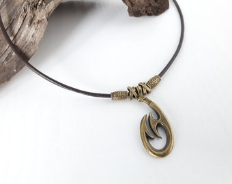Men's bronze Fishhook Leather Necklace