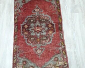 Carpet Turkish Vintage Rug,Small Turkish Rug 18x35 inches
