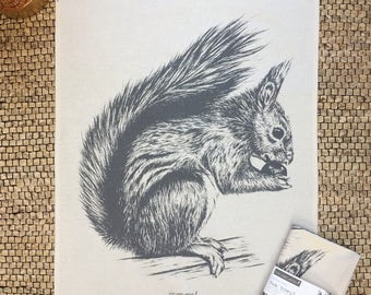 Red Squirrel natural cotton tea towel from pencil drawing