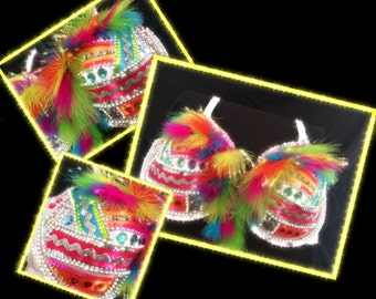 Rainbow Bling Bra with feathers, sequins,rhinstones,silver pearls and colorful ribbons-