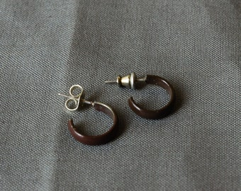Small Brown Metal Hoop Earrings