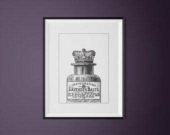 PRINTABLE WALL ART / Lavender Salts / Vintage Illustration / Vintage ad / digital print / black and white